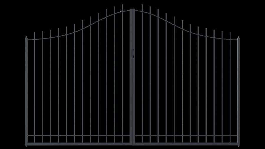 Hoftor Padua in geschwungener Form, pulverbeschichtet