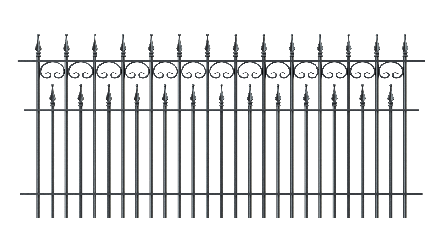 Zaunelemente Lugano in gerader Ausführung mit Spitze Stab, pulverbeschichtet